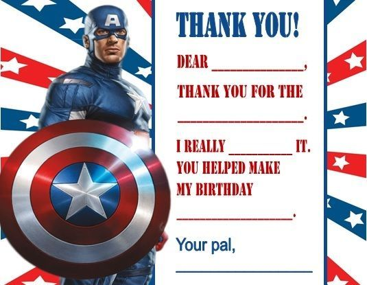 Captain America Birthday Party Thank You Note Cards Personalized