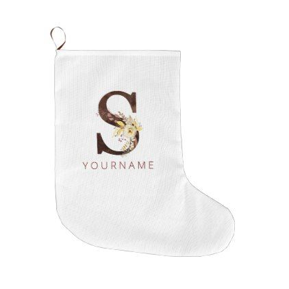 Floral Monogram S Rich Autumn Foliage Large Christmas Stocking | Zazzle.com #autumnfoliage