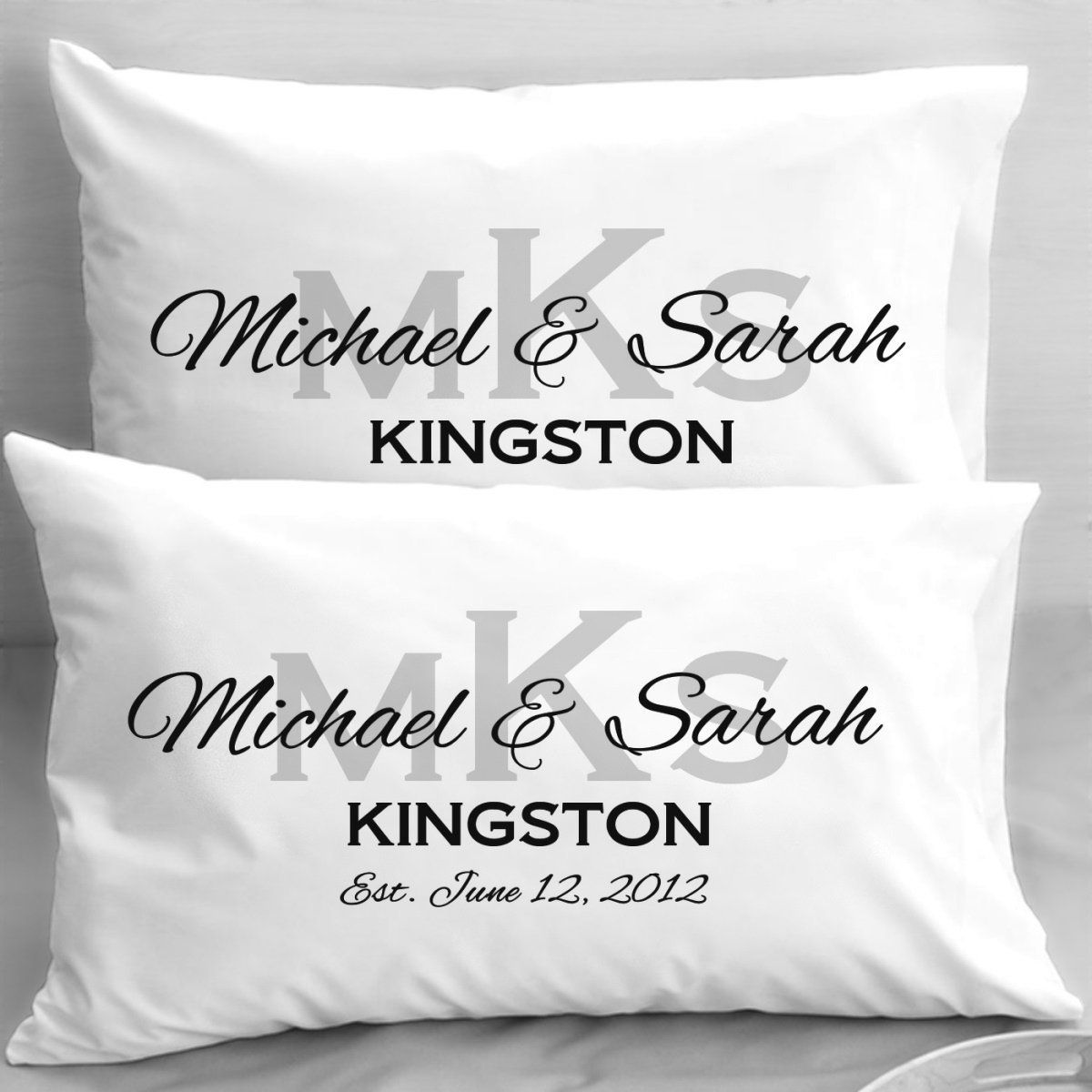 Amazon.com - Monogram Wedding Pillowcases, Elegant Initials ...