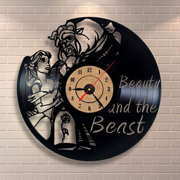 Beauty And The Beast Gifts Vinyl Wall Record Clock 32 Liked On Polyvore Featuring Home Decor Clocks Dark Olive Living DÃ Cor