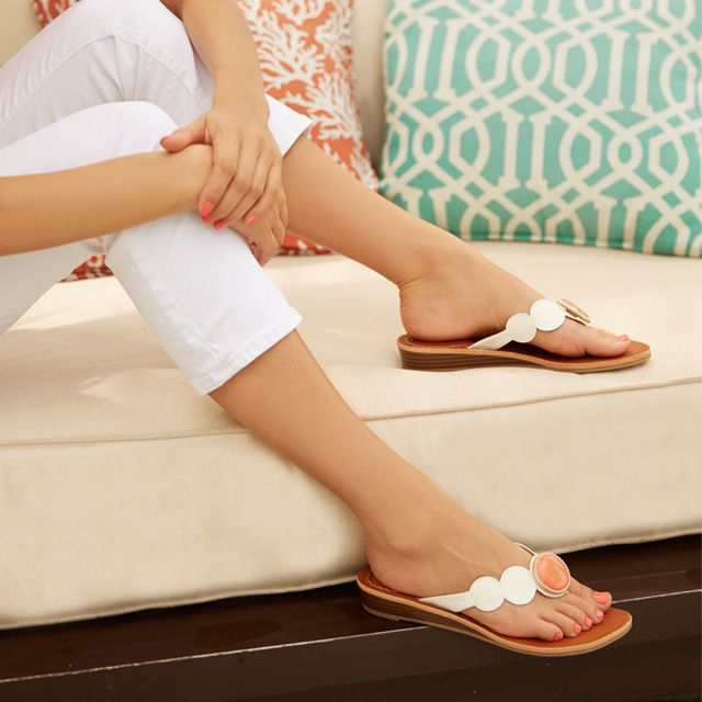 scallop-edged slide sandals with interchangeable coral snaps you can monogram