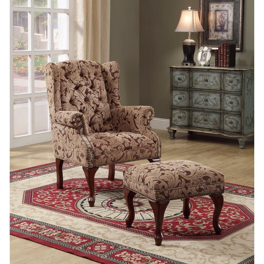 Classic Accent Chair With Ottoman Light Brown Chair Ottoman