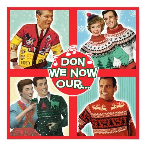 Ugly Sweater Christmas Party Invitations | Square  A laugh out loud party invitation! Have a contest for the ugliest sweater! Fully Customizable!