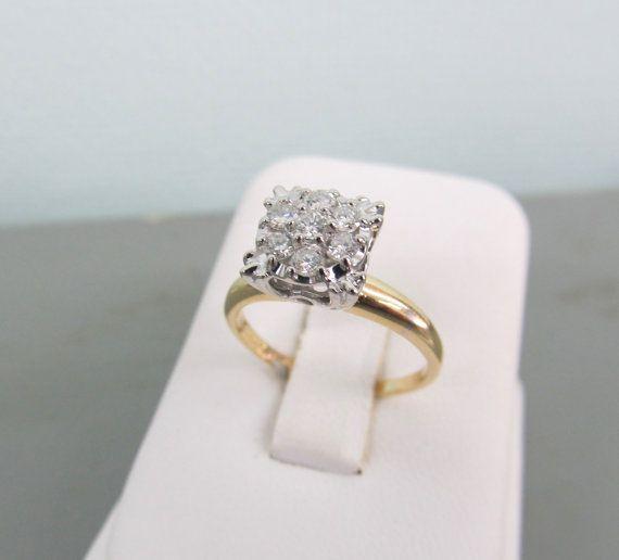 Vintage Retro Art Deco Cluster Wedding Engagement Ring 2Ct Diamond 14K Gold Over