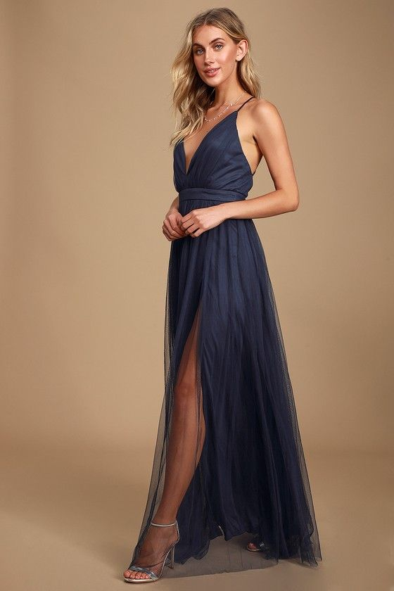 Ad: Rare Beauty Navy Blue Backless Maxi Dress. | Lulus | Sexy Navy Blue Dress - Tulle Maxi Dress - Leg Slit Maxi DressA knockout like the Rare Beauty Navy Blue Backless Maxi Dress doesn't come around often! Sexy maxi dress, composed of sheer tulle, with dual leg slits. #lulus #lovelulus #clothes #womenclothes #womenfashion #navyblueshortdress