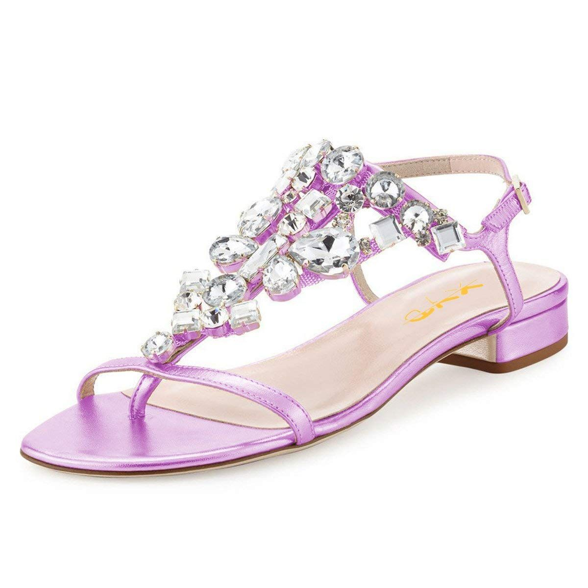 215d9b5e043 XYD Women T-Strap Flat Sandals Open Toe Rhinestone Slingback Low Heel Ankle  Strap Summer Shoes     Sincerely hope that you like our picture.
