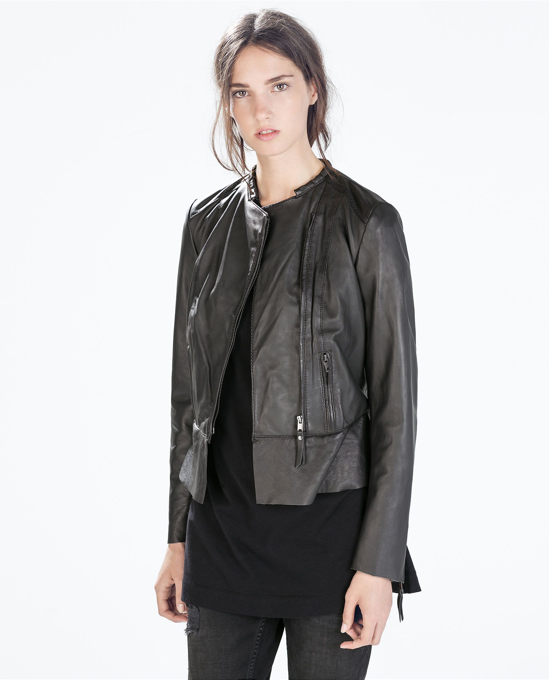 Image 2 of SHORT LEATHER JACKET from Zara (With images