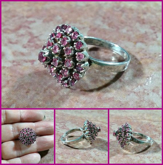 Vintage Pink Gemstone Ring Cocktail Style 4 Tiers High Various Shades of Pinks Fuschia Ring Size 5 Hallmarked 925 Fun Classic 1960's #julesbaubles #vintagejewelryforsale #vintagegold #vintagesilver #etsyvintageseller #etsyvintage #etsyshopowner #etsyshop #goldjewelry #vintagejewellery #goldearrings #sterlingsilverjewelry #southwest #southwestjewelry #westernamericana