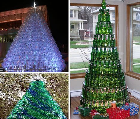 18 clever christmas trees created with recycled materials for Christmas decor using plastic bottles