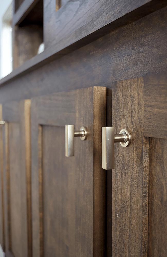 Modern Casual Living And Dining Room One Room Challenge Reveal Brepurposed Dark Wood Cabinets Kitchen Door Handles Door Handles