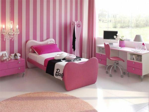 Kinderzimmer Rosa Gestalten Streifen Wand Deko Kronleuchter