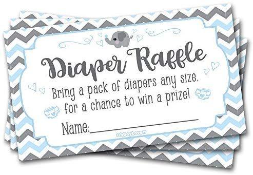 Amazon.com : 50 Diaper Raffle Tickets for Baby Shower Elephant (Blue, Grey) Them…
