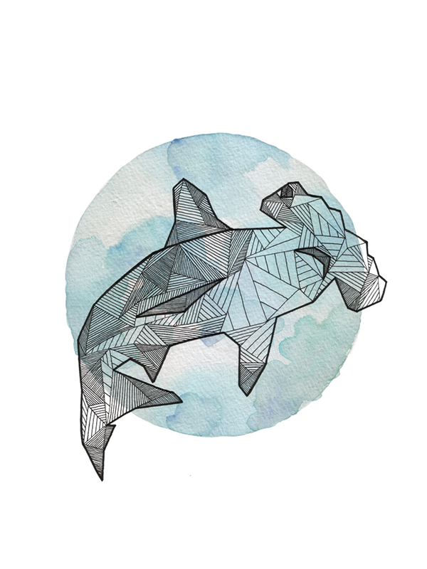 Geometric Animal Drawing Hand inked geometric a...