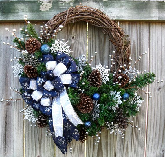 Silent Night Winter Solstice Christmas Wreath Navy Blue Silver Country Rustic Cabin Home Deco Silver Christmas Decorations Christmas Wreaths Xmas Wreaths