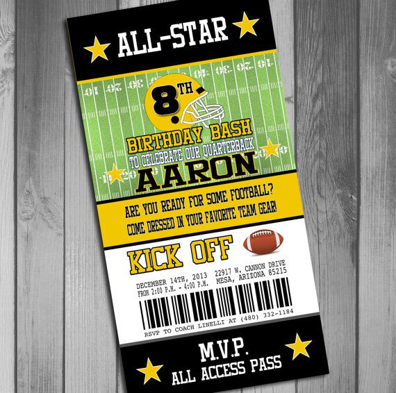 Pittsburgh Steelers Inspired Football Ticket Birthday Invitation
