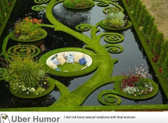 Garden, pond, couch