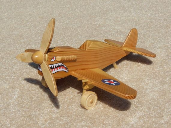 Wooden P 40 Fighter Flying Tiger Toy Plane Madera Avion De