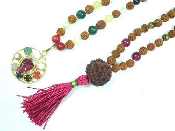 Rudraksha Nine Planets Navgraha Meditation Mala Necklace ~ Empowers Good Effects of All Planets