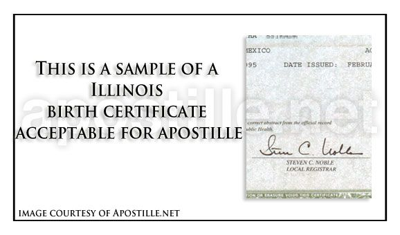This is a sample of an Illinois Birth Certificate sign acceptable - official birth certificate template