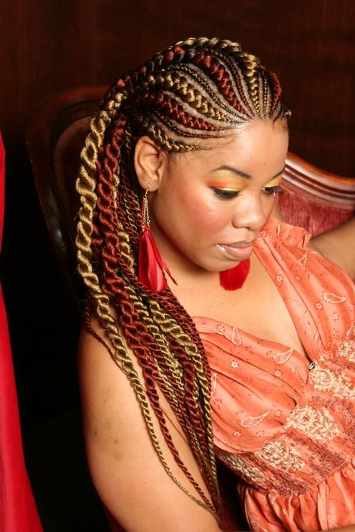 My new favorite style: corn rows & twists and the colors take this one up several notches.