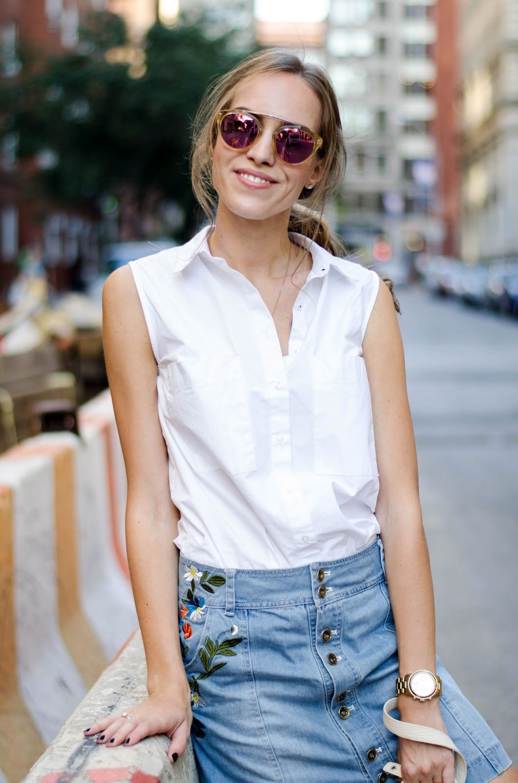 13a1833d1 sleeveless white button down denim skirt outfit | My Style & Outfits ...