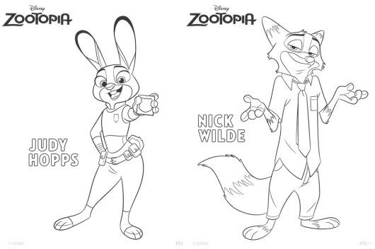 Judy Hopps And Nick Wilde From Bogo From Zootopia Disney Coloring Page Disney Coloring Pages Zootopia Coloring Pages Zootopia