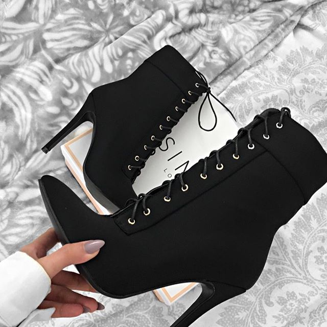 Aaliyah Black Suede Lace Up Pointed
