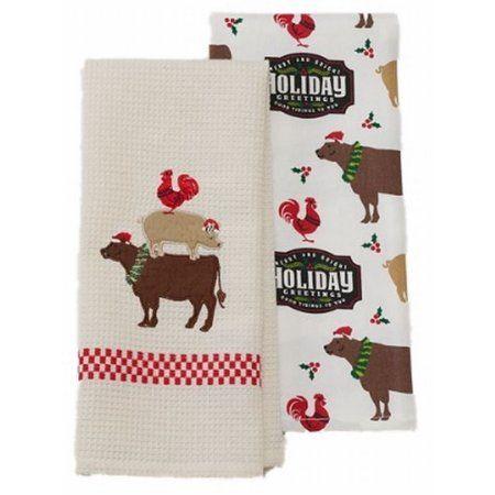 St Nicholas Square Farm Animal Christmas Kitchen Towel Set Pig Cow