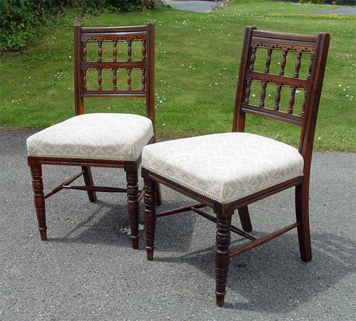 Dining Chairs Victorian Antique Furniture | eBay - A Good Pair Victorian Aesthetic Parcel Ebonised Bruce Talbert