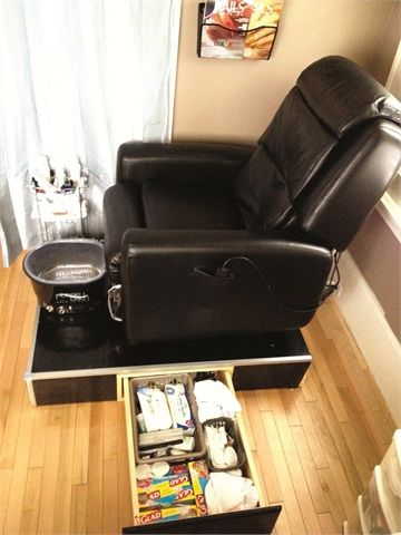 Space Saving Storage Solution For The Salon Pedicure