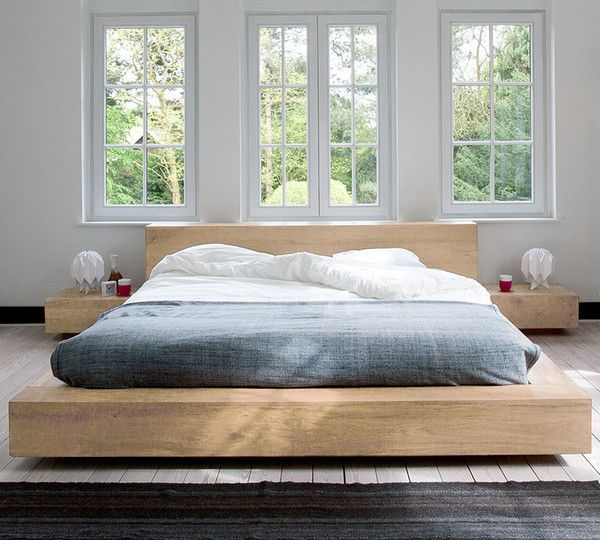 Ethnicraft Oak Madra Queen Size Bed, European Queen Bed Frame
