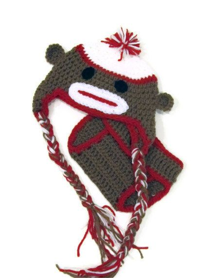 Sock Monkey Photo Prop Pattern Baby Sock Monkey Hat And Diaper