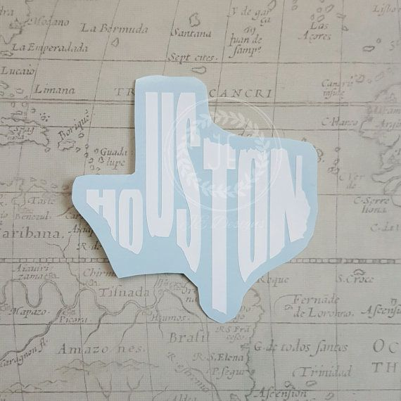 Houston Texas TX Vinyl Decal State City Cutout Car Decal Yeti - Vinyl decals houston tx