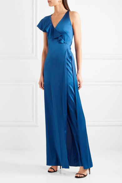 Diane von Furstenberg - Ruffled Satin Wrap Maxi Dress - Royal blue - US12