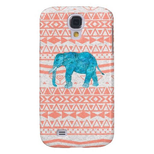 Whimsical Teal Paisley Elephant Pink Aztec Pattern Samsung Galaxy S4 Cases $39.95