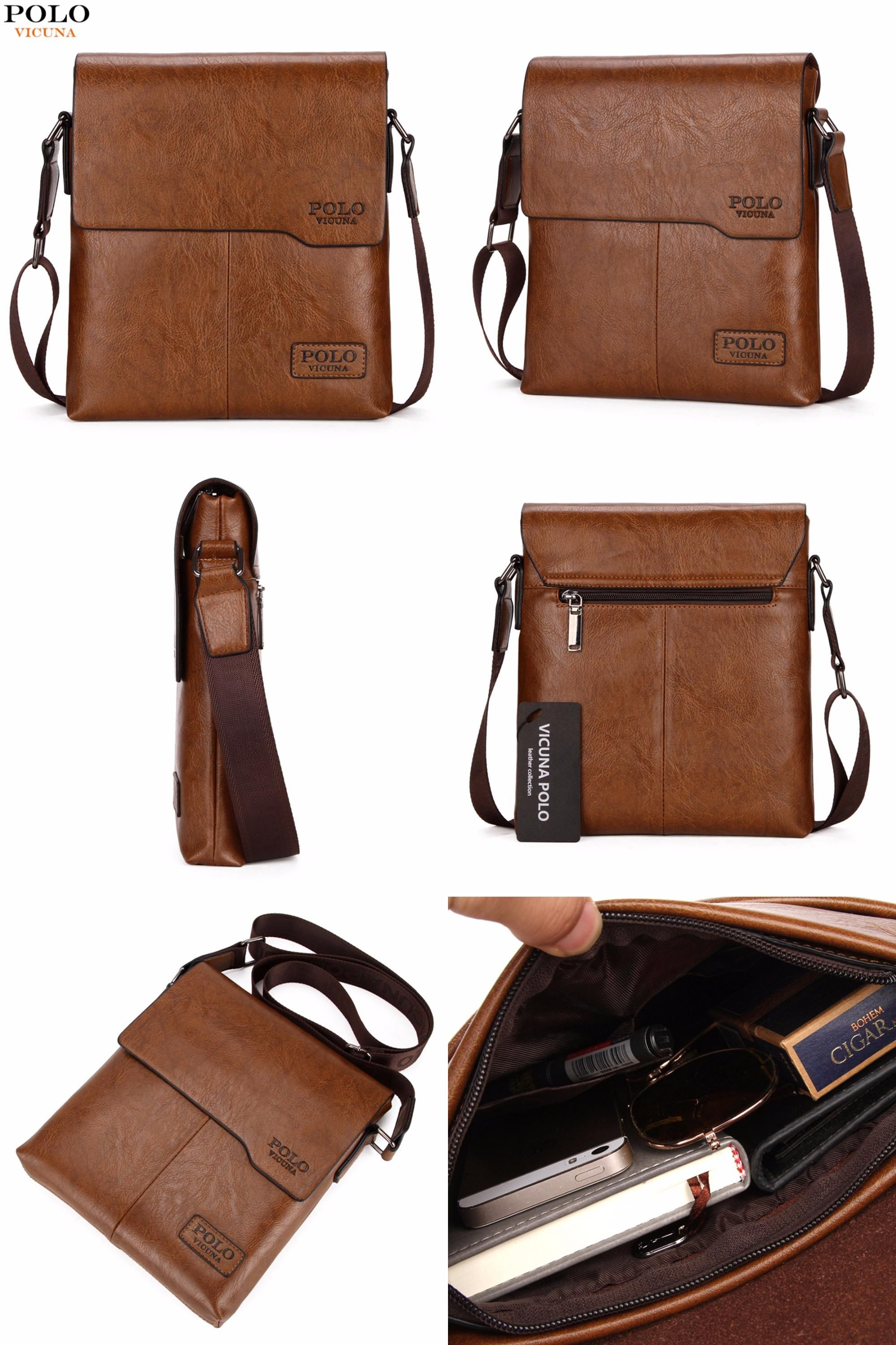 dcc9a2595b  Visit to Buy  VICUNA POLO Men Shoulder Bag Classic Brand Men Bag Vintage  Style