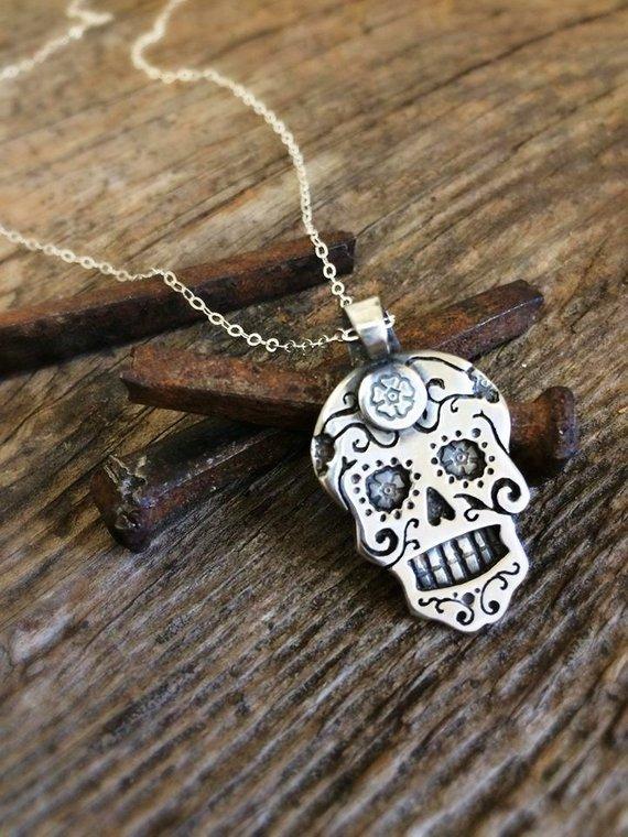 26818043c Sugar Skull Necklace in Sterling Silver or Copper or Bronze Dia De Los  Muertos Necklace
