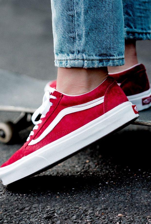 Mais qu'elles sont belles ces Vans en daim rouge Baskets