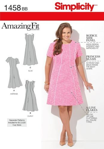 SIMPLICITY SEWING PATTERN 1156 WOMENS SZ 20W-28W AMAZING FIT DRESS IN PLUS SIZES