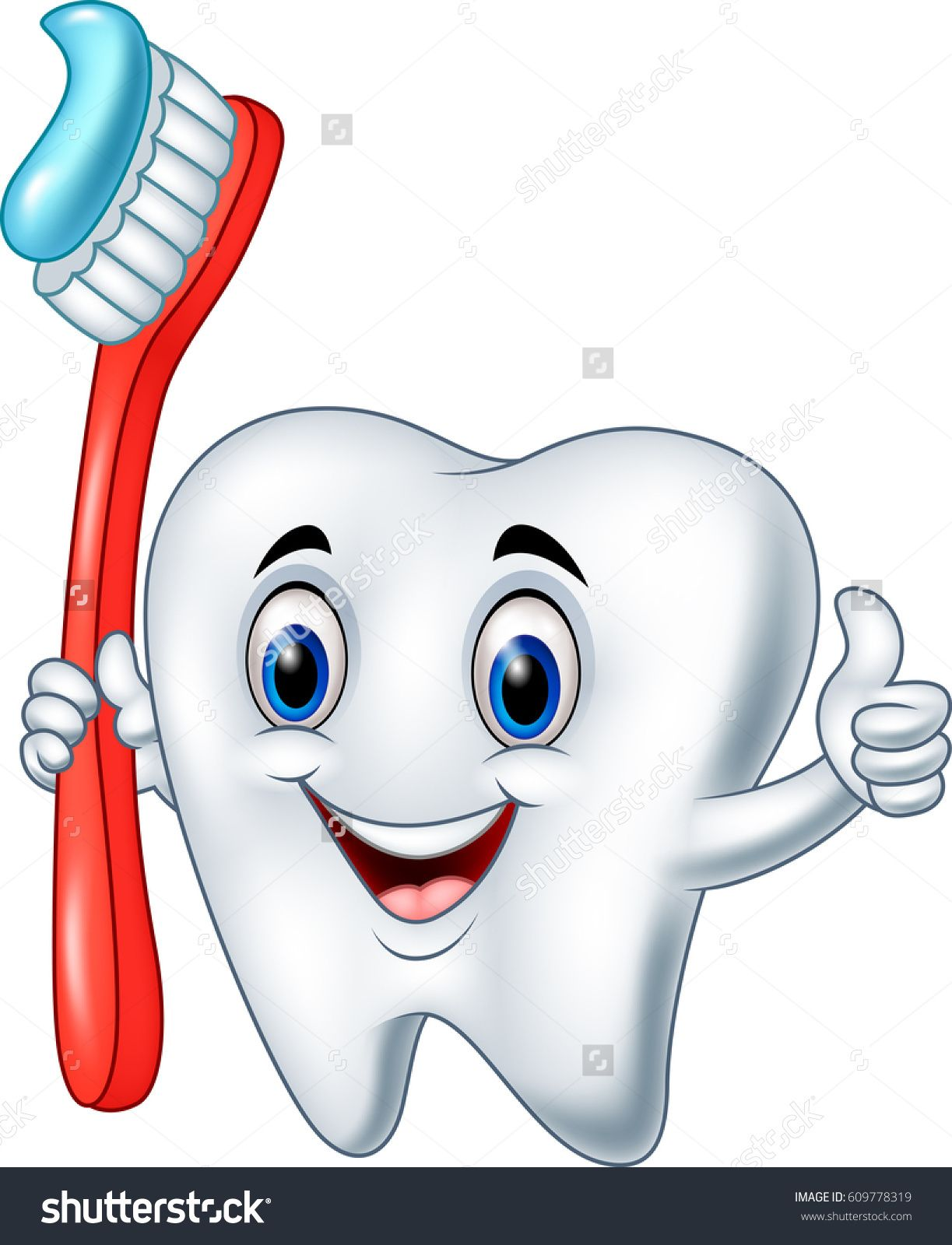 cartoon tooth holding a tooth brush giving thumb up [ 1223 x 1600 Pixel ]