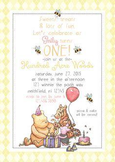 Pooh invitation  Winnie the Pooh  Classic Winnie the Pooh invitation  Vintage Winnie the Pooh Invitation Winnie the Pooh Invite