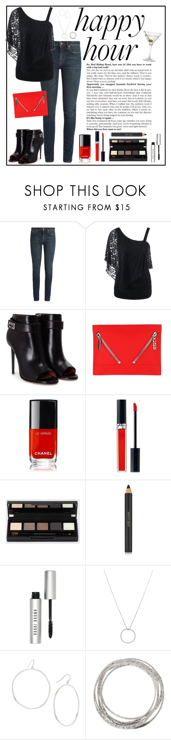 """""""Happy Hour"""" by sew-inspired ❤ liked on Polyvore featuring Yves Saint Laurent, Givenchy, Kenzo, Chanel, Christian Dior, Estée Lauder, Bobbi Brown Cosmetics, Roberto Coin, Gorjana and NOVICA"""