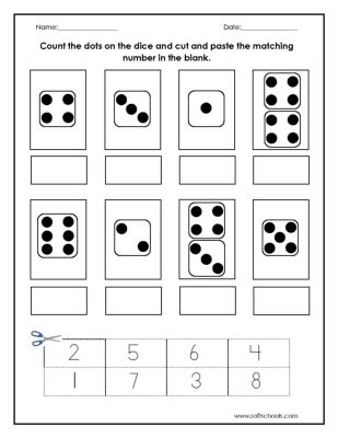 Count the dots on the dice and cut and paste the matching