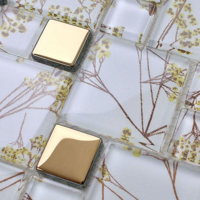 Glass tile mirror sheets crystal mosaic pattern kitchen backsplash ...