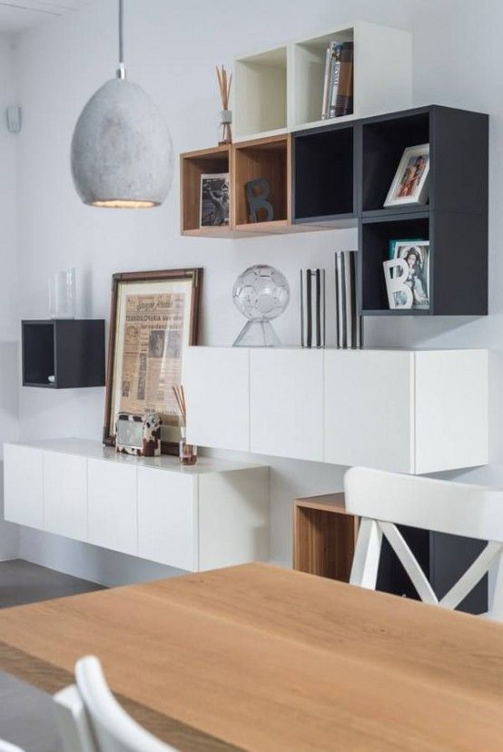 Creative ikea besta combination with other shelves