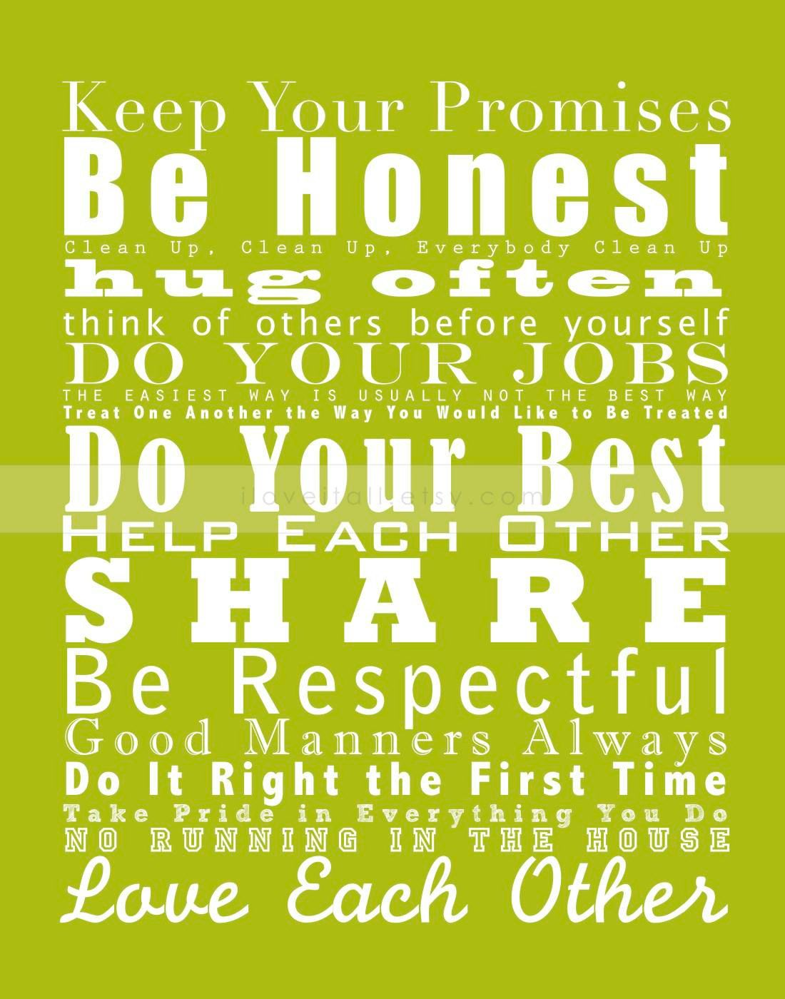 House Rules Family Values Subway Wall Art Print Manifesto // Lime ...