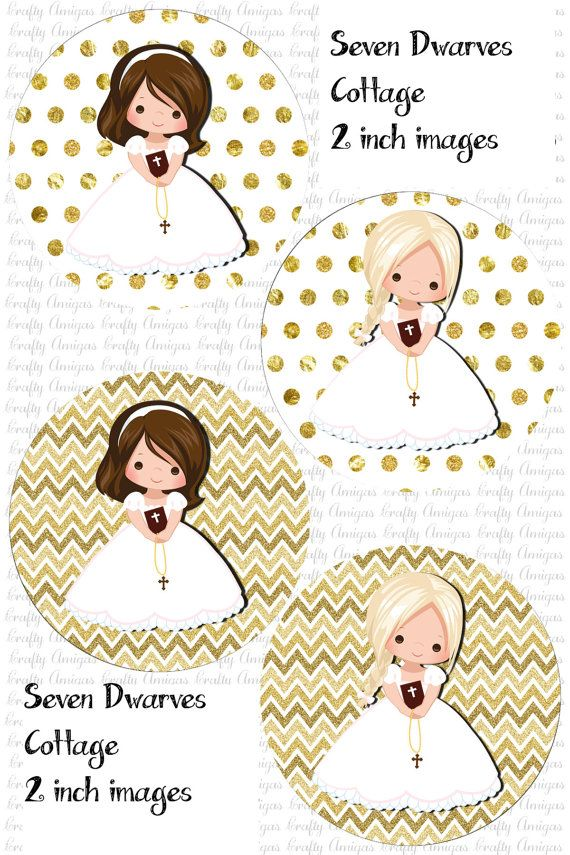 First Communion Girls 2 inch Cupcake Toppers, Downloadable ...