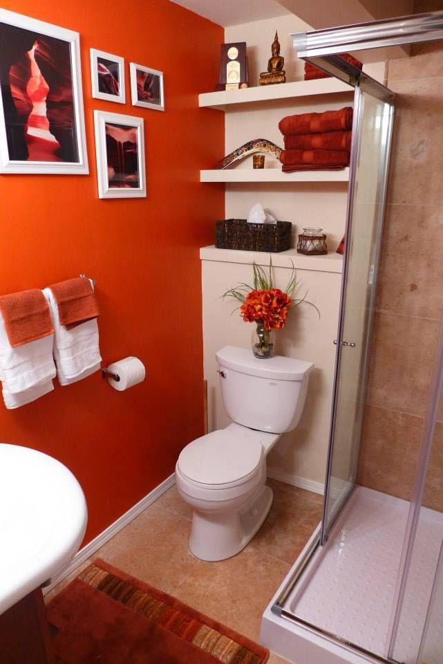 Orange Color Bathroom Decorating Ideas