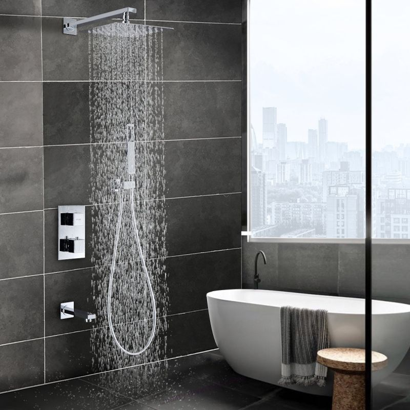 Thermostatic Shower System Wall Mounted Shower Faucet Set With Tub Spout And 10 Rain Shower Head Polish Chrom Shower Faucet Sets Rain Shower Head Shower Heads