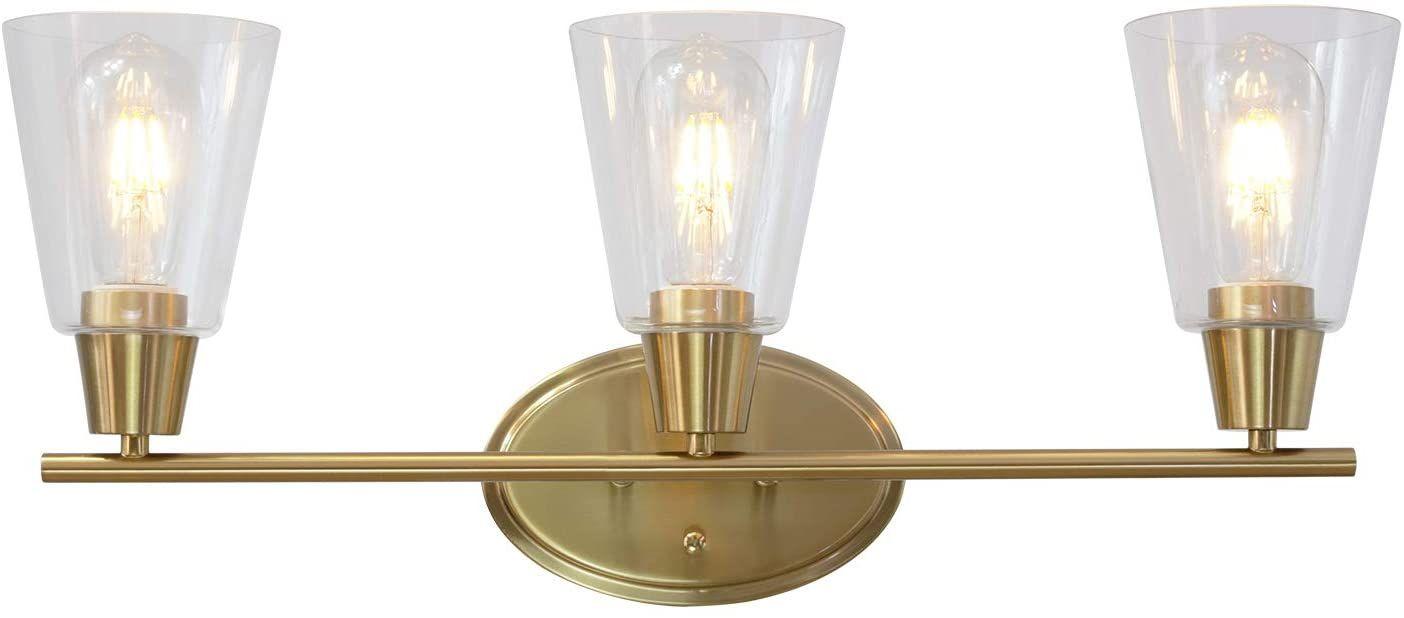 Bonlicht Modern Bathroom Light Fixtures Brushed Brass 3 Lights Contemporary Vanity Lights Wall Sconce Lighting Bathroom Light Fixtures Modern Bathroom Lighting